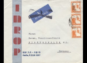Palestine letter air mail Haifa to Finsterwalde/Germany