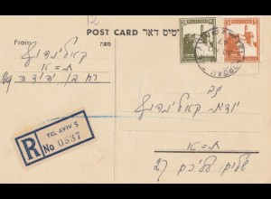 Palestine 1947: post card registered Tel Aviv