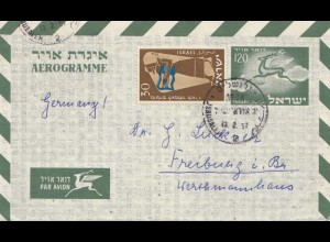Israel 1957: air mail to Freiburg