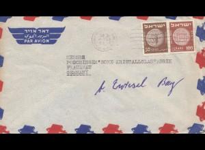 Israel 1954: air mail Tel Aviv to Frauenau-Kristallglasfabrik