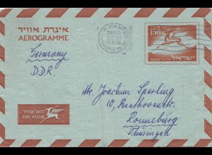 Israel 1958: air mail Holon to Ronneburg