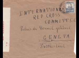 Palestine 1941: Ramatain to Genf/Switzerland, censor