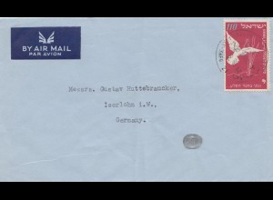 Israel 1952: air mail Tel Aviv to Iserlohn