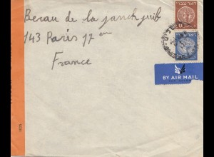 Palestine 194x, air mail to Paris, censor