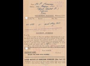 Palestine: 1944: Jerusalem Instalment Account to Teheran, britisch censor