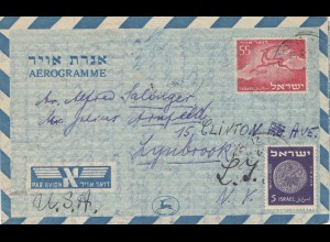 Israel: air mail from Tel Aviv to Lynbrook/USA