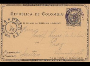 Colombia: 1901 post card Colon via New York to Prag