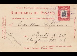 Panama 1910: Agencia Postal, Colon, to Berlin