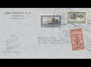 Panama 1952: air mail Pnama to Genf/Switzerland