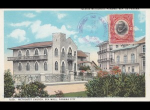 Panama 1928: post card Iglesia Metodista to Offenbach