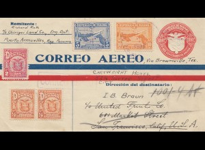 Panama 1931: air mail Puerto Armuelles to San Francisco forwarded