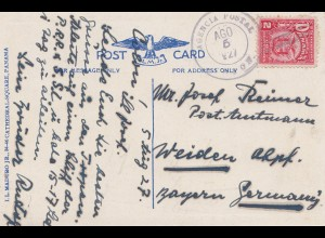 Panama 1927: post card Balboa to Weiden/Germany