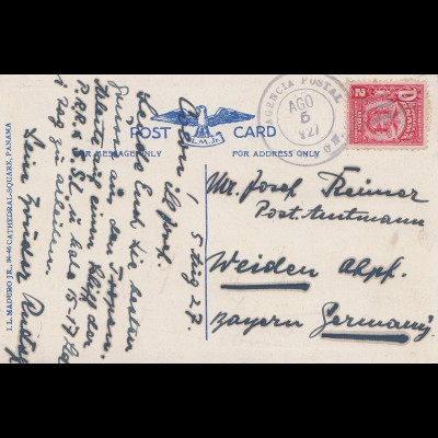 Panama 1927: post card Balboa to Weiden/Germany