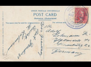 Panama 1929: post card: Jamaica/Kingstown via United Fruit Co Steamship Service