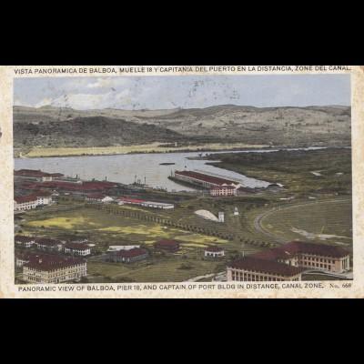 Panama 1925: post card: view Balboa to Brugg/Switzerland