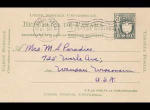 Panama 1907: post card Agencia Postal to Wansau/Wisconsin