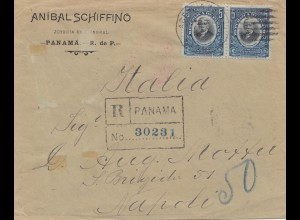 Panama 1911: Registered letter to Napoli/Italia via New York