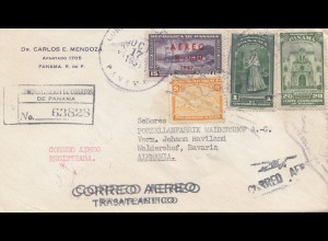 Panama 1951: Registered air mail to Waldershof