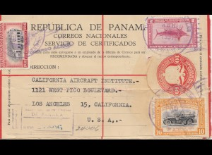 Panama 1951: Registered air mail to Los Angeles