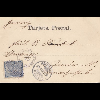 Panama 1892: post card Catedral to Dresden