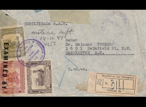 Paraguay 1944: Registered letter Asuncion to Washington, Second notice, censor