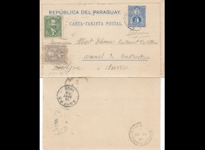 Paraguay 1893: post card Vileta to Anvers/Belgium