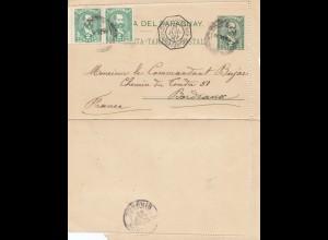 Paraguay 1899: post card Ausuncion via Buenos Aires to Bordeaux/France