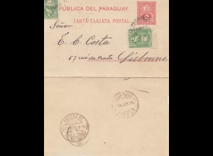 Paraguay 1895: post card Ausuncion to Lisbonne/Portugal