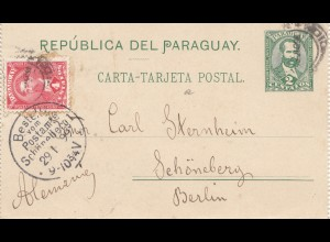Paraguay 1899: post card Ausuncion to Schöneberg/Berlin