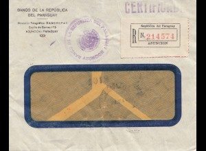 Paraguay 1938: Registered Asuncion, Banco to Milano/Italy