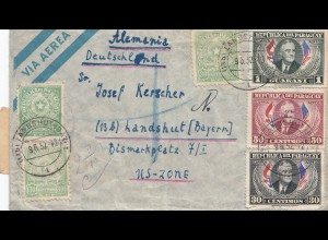 Paraguay 1952: air mail letter Asuncion to Landhut