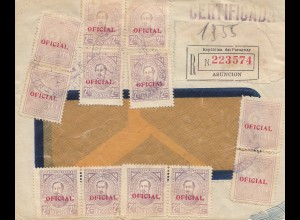 Paraguay 1937: registered letter Asuncion to La Chaux ....