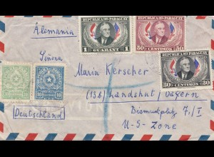 Paraguay 1951: Asuncion via air mail to Landshut