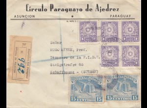 Paraguay 1954: registered Asuncion to Schaffhausen/Switzerland