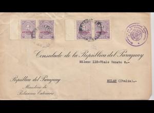 Paraguay 1937: Ministerio de Relaciones Exteriores to Milano/Italy