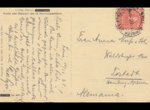 Peru 1928: post card Lima to Hamburg