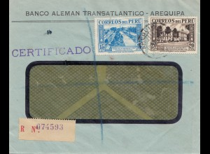 Peru 1938: registered letter Arequipa to Plymouth Dvon