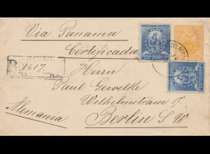 Peru 1896: registered letter via Panama to Berlin