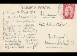 Peru 1934: post card Lima to Langenkielau