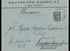 Peru Deutsches Konsulat Lima to Dresden, forwarded to Einbeck