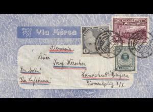 Peru 1937: air mail Lima to Landshut