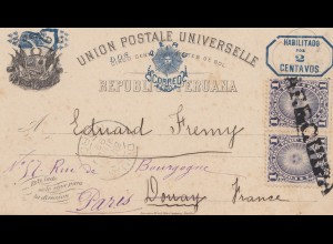 Peru 1892: post card Arequipa to Donay, forwarded to Paris
