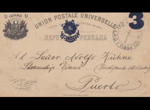 Peru 1895: post card Callao to Puerto