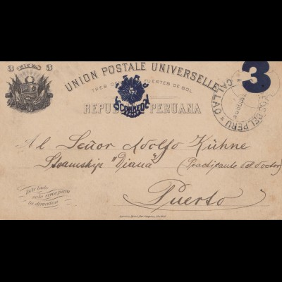 Peru 1895: post card Callao to Puerto
