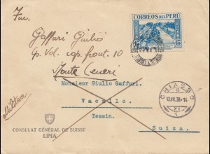 Peru 1938: Consulat General des Suiss/Lima to Vacallo