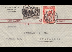 Peru 1938: Lima to Guayaquil, air mail