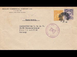 Philippines 1922: Registered Manila to Berlin