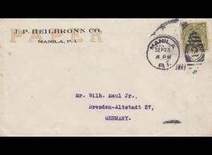 Philippines 1927: Registered Manila J.P. Heilbronn Co. to Dresden
