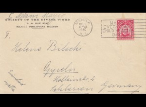 Philippines 1936: Manila to Oppeln/Schlesien/Germany
