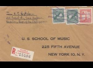 Philippines 1949: Registered Manila to New York